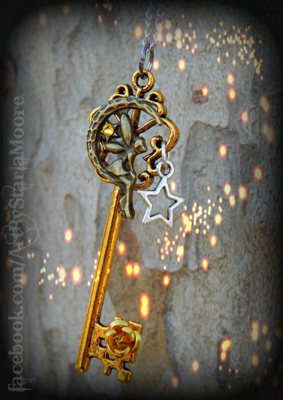 Moon fairy fantasy key keys fairies and etsy for Fairy door with key