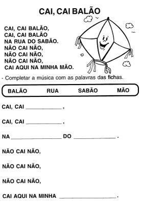 Aprendendo Fácil: Cai cai Balão Musica e atividades