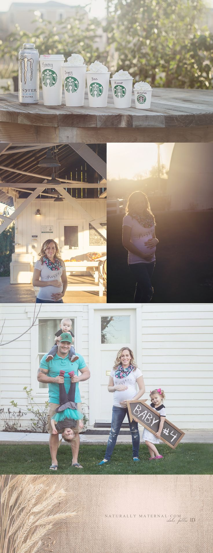 The best pregnancy announcement! Family of five welcomes baby number four in this unique farmer's market photo shoot. Baby announcements are the most under rated photo session style there is.