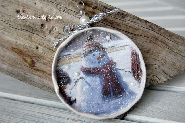 recycled Christmas card & jar lid ornaments
