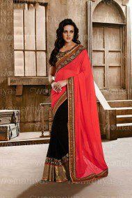 Nakkashi Georgette Designer Saree In Pink and Black Colour
