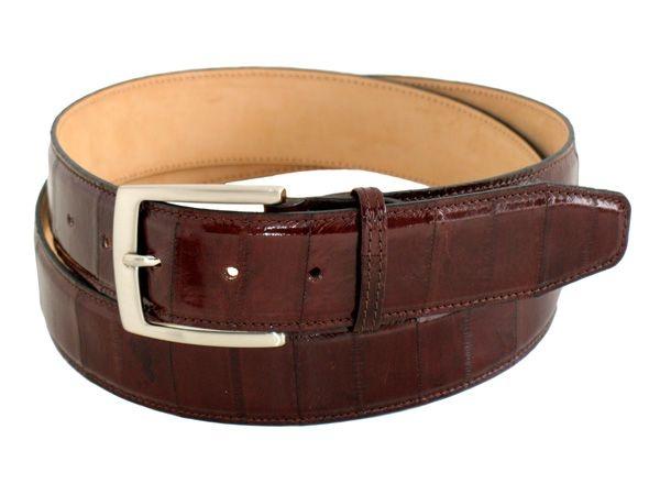 Dark brown genuine eel men's belt buckle nickel heigth 1,37 inch