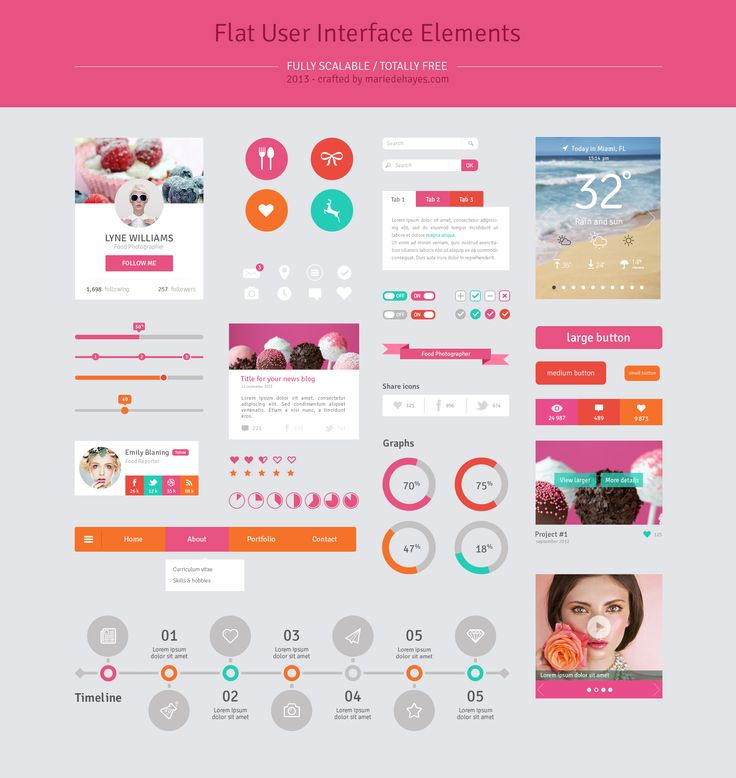 <p>Download Flat Pink Web UI Elements Kit PSD file. menus, profile, icons, social, switches, icons, news blog, tabbed box, star rating, steps and more. Enjoy!</p>