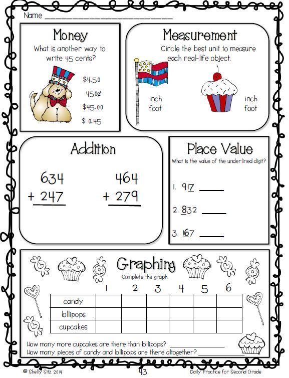 Math for 2nd grade--Freebie--great for morning work for second grade--counting money, measurement, graphing, place value, addition--click on preview for your Free Math review worksheet for second grade