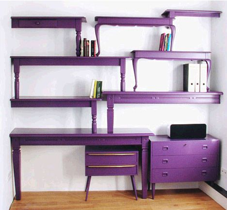 Diy stacked recycled bookcase.: Decor, Ideas, Coffee Tables, Craft, Purple, Shelves, Desk, Furniture, Diy