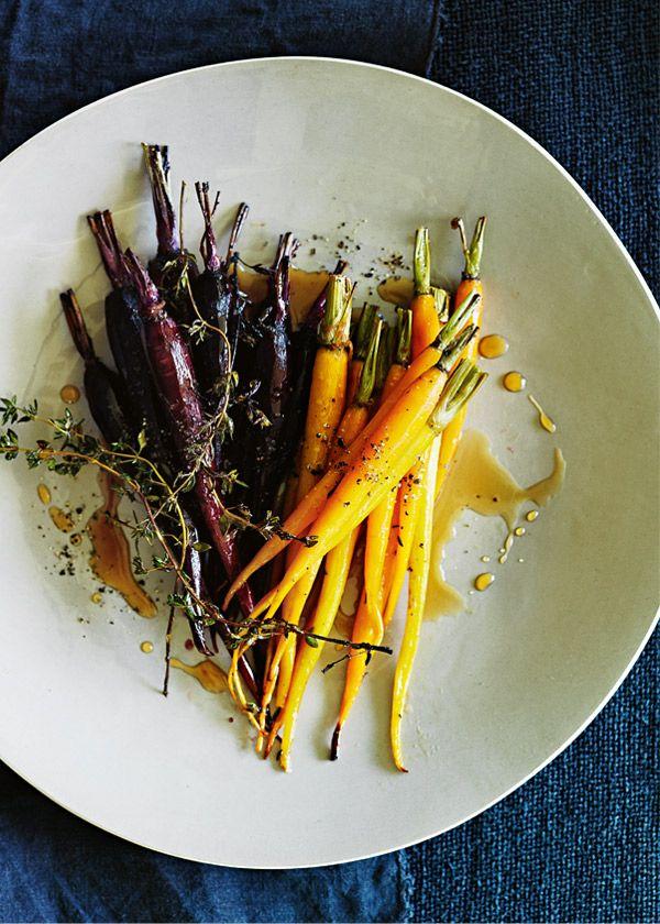 Honey and lemon thyme roasted carrots #sidedishes