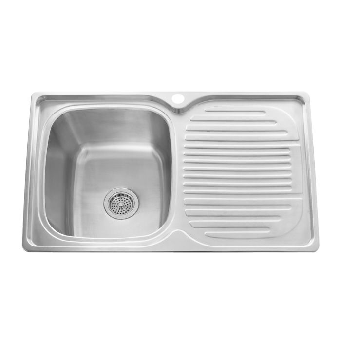Stainless Steel Sinks With Drainboards : ... Stainless Steel Rectangular Drop-In Prep Sink with Drainboard - 32