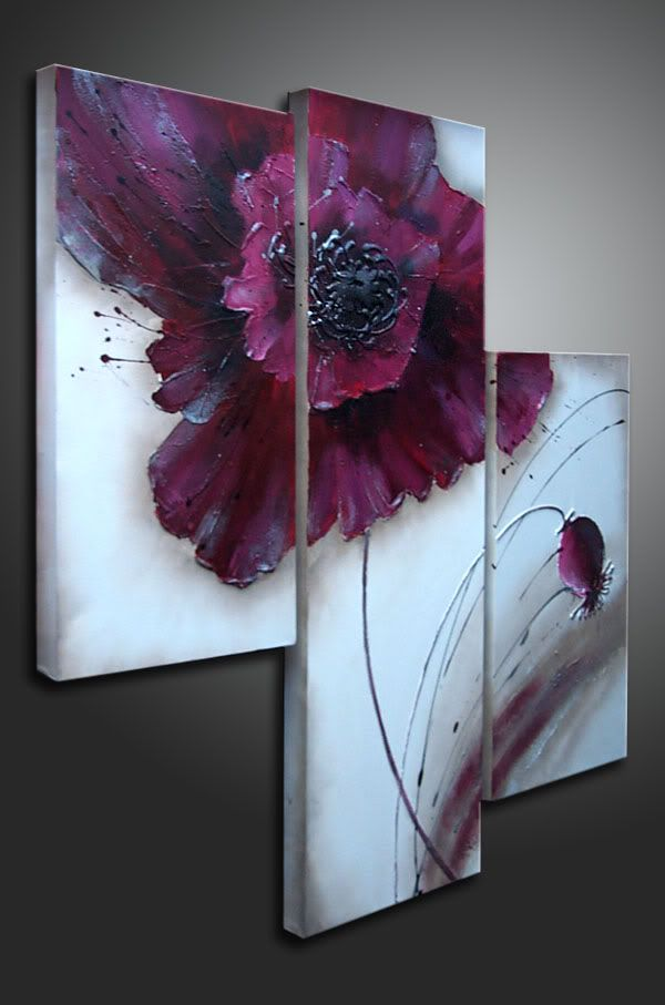 flower painting triptyque
