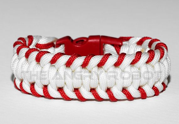 Baseball Stitched Paracord Bracelet - White Red - Red Buckle