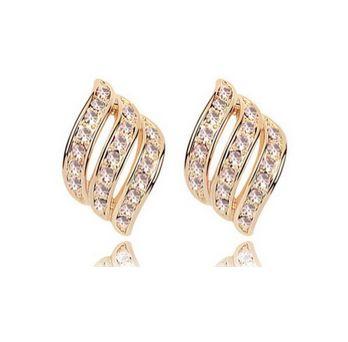 Aros Tipo Hoja Dorados con Cristales Swarovski Elements