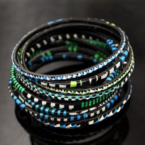 Bijoux Ethniques Bracelets Africains Fin Plastique Homme/Femme/Enfant Lot 6 ou 12 Bleu/Vert Bracelet Africain
