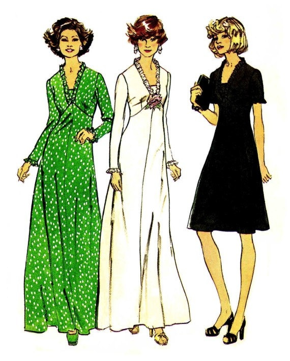 Womens Full Figure Dress Look Slimmer 1970s by patternshop on Etsy, $14.99