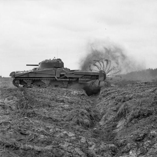 "One of General Hobart's ""funnies"" of the 79th Armored Division–a Sherman Crab Mk II flail tank–conducting a minesweeping test in England/27 April 1944"