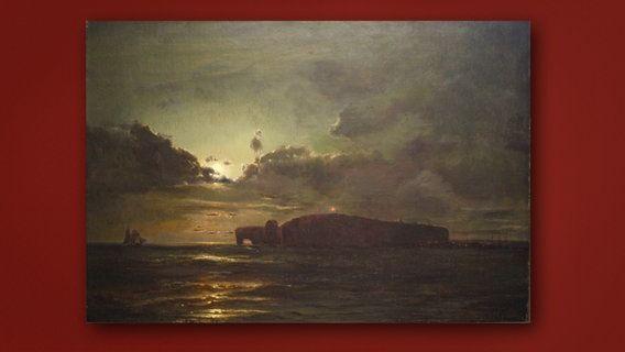Die historische Ansicht der Insel Helgoland stammt von Hermann Eschke (1823 Berlin-1900), Marinemaler, Studienreisen Nord- und Ostsee, Norwegen, Kanalinseln und Helgoland. Zu sehen ist eine historische Ansicht der Insel mit noch intaktem Felsbogen.  Wert 2000 -3000 €