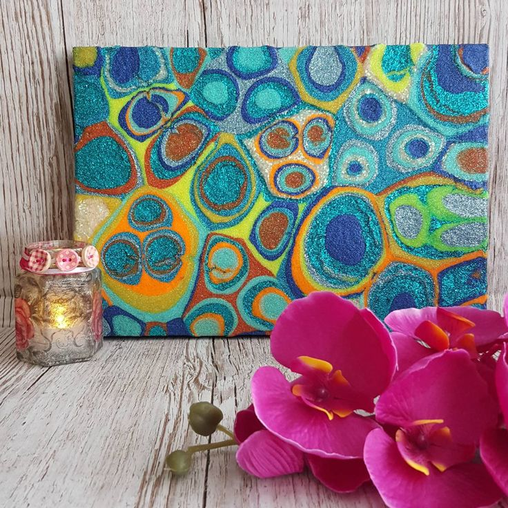 Abstract Art , Blue Orange Glitter Painting , Mixed Media Original Artwork , Retro colours #etsy #art #abstractart #glitter #glitterart #originalart http://etsy.me/2FCm7Gj