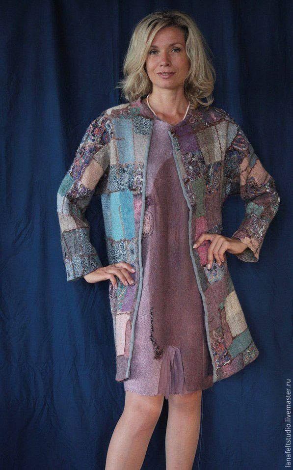 """Купить Демисезонное пальто """"Печворк"""" - комбинированный, дизайнерская одежда, печворк, пальто, весна, лето"""
