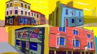 Artist Chris Langley preserves Cardiff's pubs in paintings - BBC News