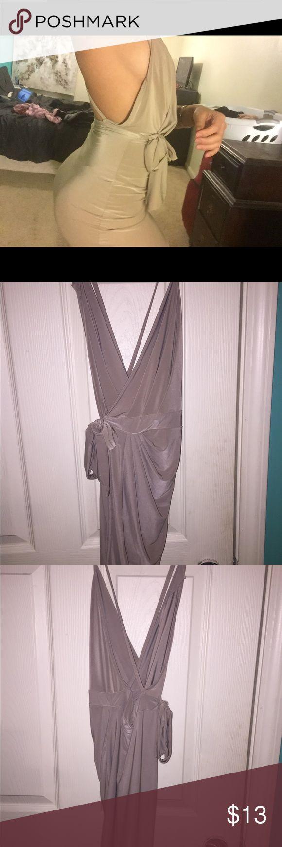 Sexy slinky tan wrap bodycon dress Sexy slinky tan wrap bodycon dress! Fits amazing and makes your curves pop! Purchased from BOOHOO PETITE Boohoo Dresses Mini