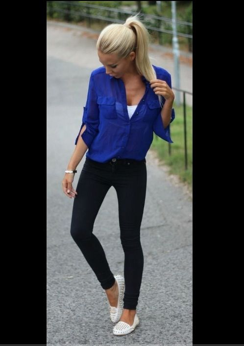 Cobalt Blue Top Jeggings White Flats | My Style ...
