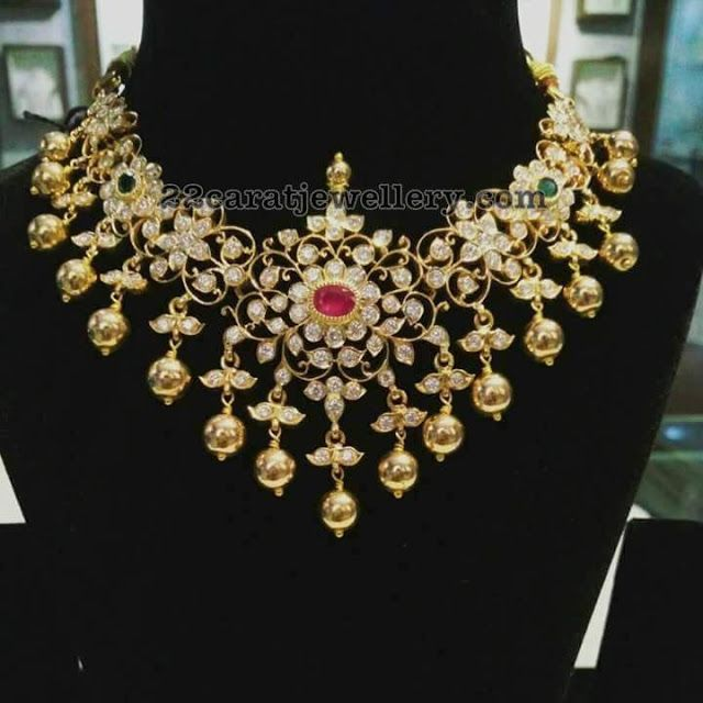 Pachi Floral Necklace with Gold Balls - Jewellery Designs
