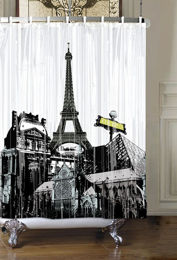 Paris Eiffel Tower Waterproof Shower by MelissaAnneDesignInc, $10.25