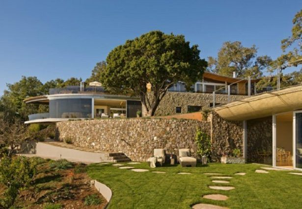 Home Design Traditional Combination From Stone Walls Also Green Lawn To Blend Entire Building Among Nature Coastland Residence in California