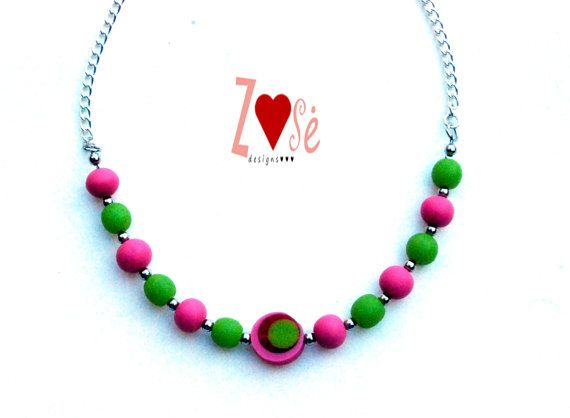 Girls necklace pink and green. Size Large. by ZoseDesigns on Etsy, $14.00