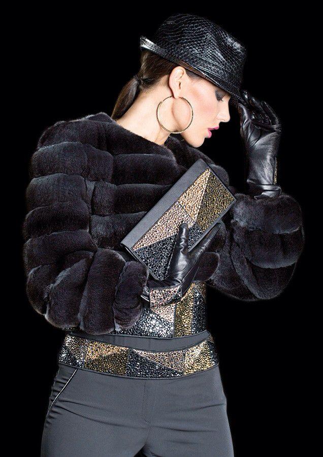 Dyed Chinchilla Fur and Jeweled Jacket