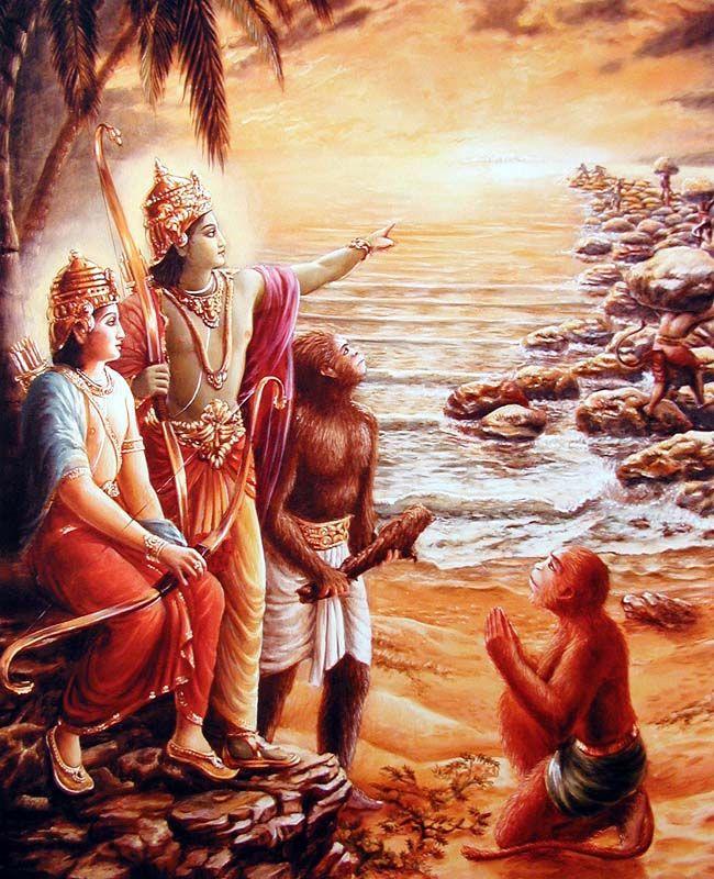 Lord Ramacandra builds a bridge to Lanka
