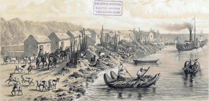 Puerto de Huasco, del libro Atlas de la historia física y política de Chile por Claudio Gay, impreso en el año 1854. En la imagen se aprecian aldeanos empleando balsas de cuero de lobo. Chile