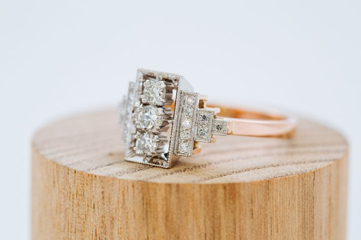Platinum and 750 rose gold engagement ring. Custom made. Modern Deco design. White diamonds. Band is made in rose gold. Setting is in platinum. #Custom #Design #Luxury #Engagement #Bridal #Wedding #Jewellery #MasterJeweller #TerryCockrem #RoseandCrownJewellers #Platinum #Gold #Diamond #Sapphire #Emerald