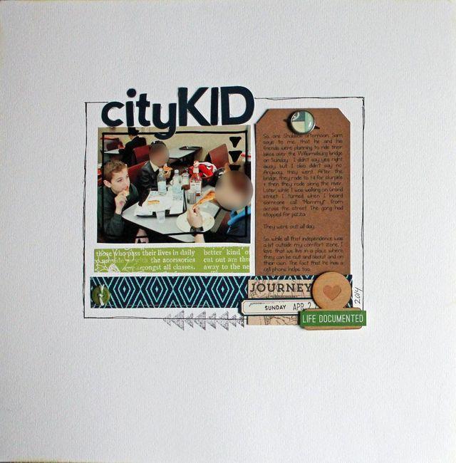 City Kid | Aliza Deutsch at Write Click Scrapbook. Love the tight center block.