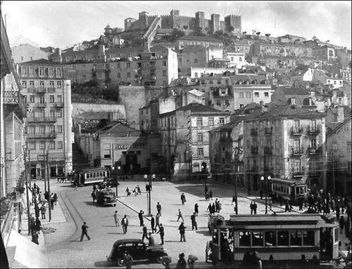 Aerial view of Martim Moniz, Lisbon, Portugal, 1946. From Lisboa antiga