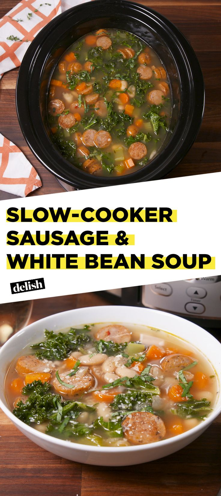 This slow-cooker sausage & white bean soup will cure your winter blues. Get the recipe at Delish.com. #delish #easyrecipe #recipe #soup #slowcooker #crockpot #celery #carrot