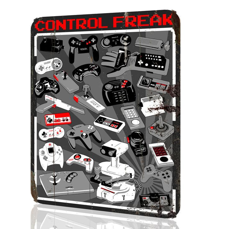 Metal Sign Control Freak Video Game Consoles Nintendo Arcade Video Game Rusted