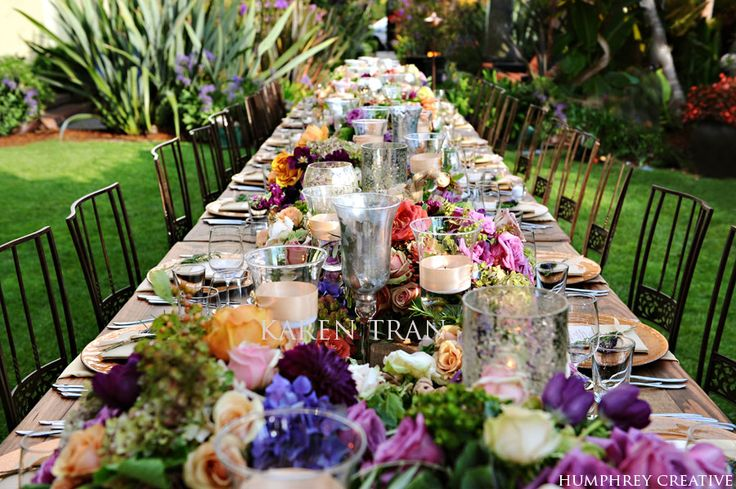 french dinner partyGardens Tablescapes, Dinner Parties, Vibrant Colors, French Country, Wedding Blog, Vineyard Wedding, Gardens Parties, Long Tables, Karen Trans