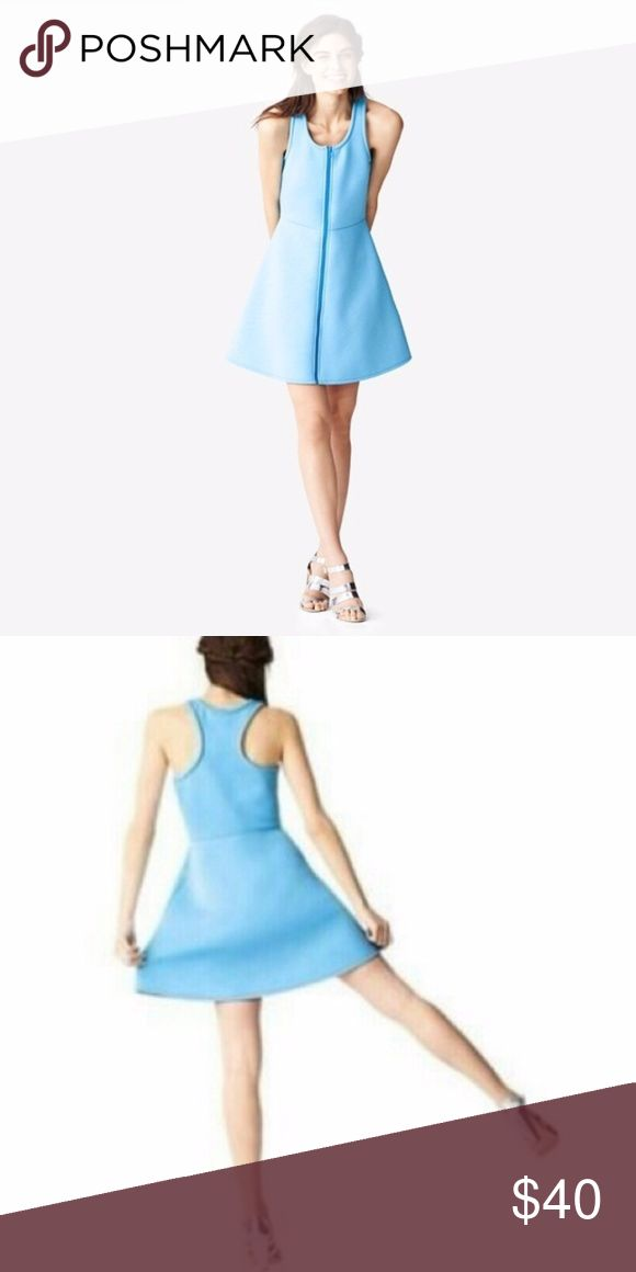 Kate Spade Saturday Scuba dress Kate Spade Saturday Scuba Dress.  Beautiful classic silhouette given a fresh sporty feel, perfect for spring, summer, holiday getaways, showers etc. From the Kate Spade Saturday collection. Made of a thicker scuba material, Easter egg/robin egg/ocean blue color, racerback, full front zip, skater skirt, fit & flare style with deep side pockets. Fits an XS perfectly, UK 6, US 0, 2.  Excellent condition except small pin sized hole near armpit (see photo - not…