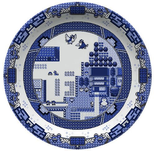 Graphic designer Olly Moss was inspired by the Blue Willow dinnerware pattern to design his own, video game style