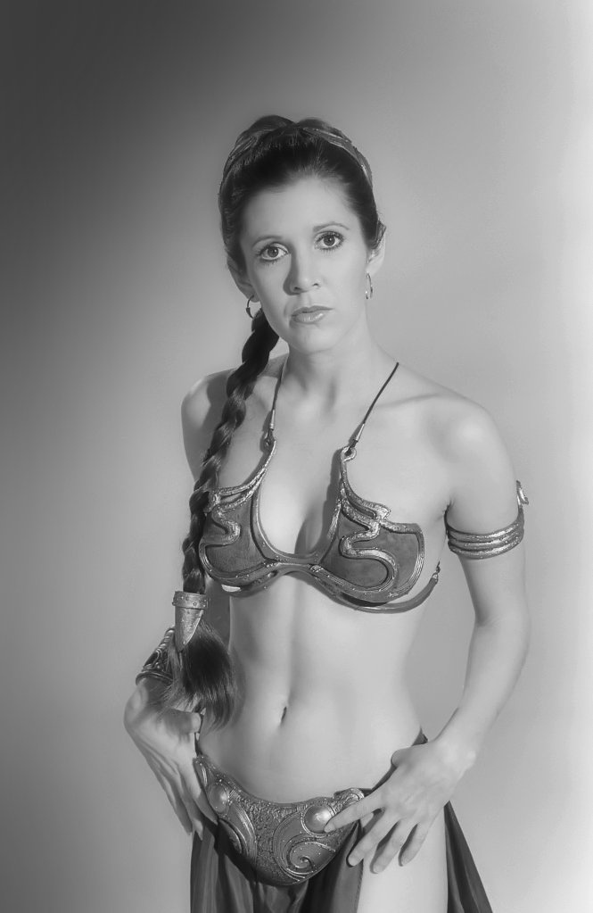 Carrie Fisher, as Princess Leia.