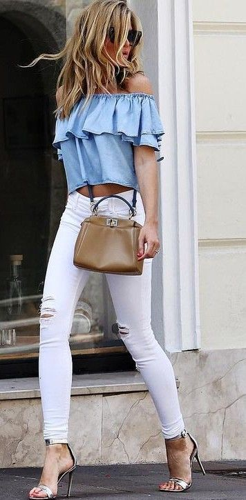#summer #flawless #outfitideas   Chambray Ruffles + White Denim