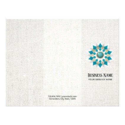 #salon - #Gold & Teal Lotus Flower Mandala Elegant Trifold Flyer