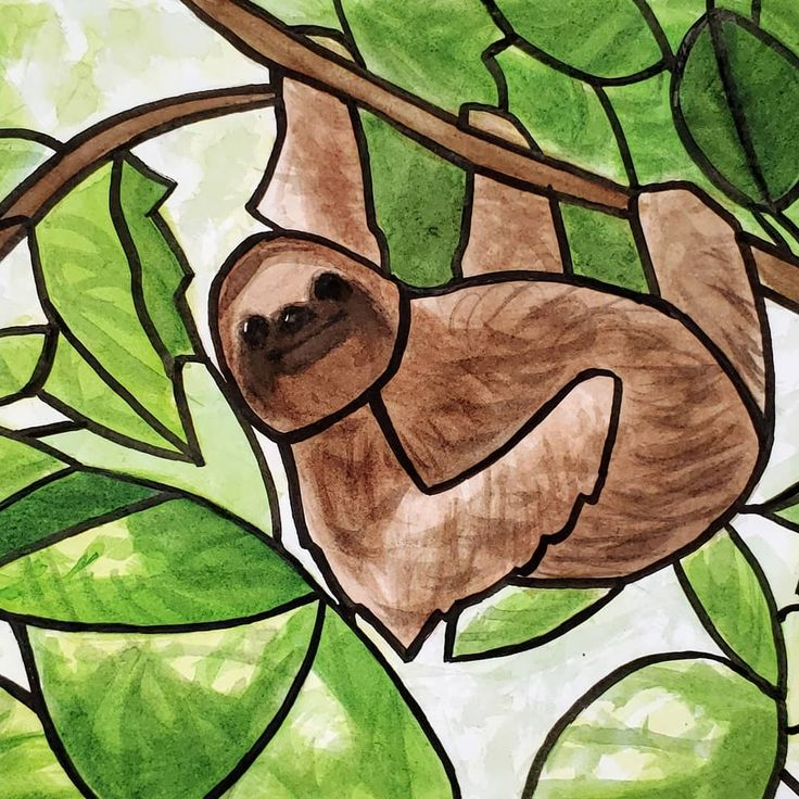 Stain Glass Sloth Wanted To Try A More Organic Form Of Stainglass Achieved With Watercolors And Inking Pens Waterco Sloth Art Watercolor Artist Nature Art