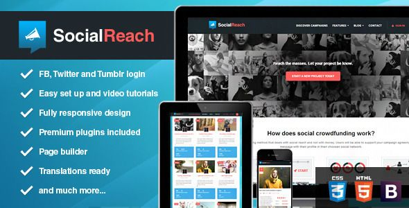 Social Reach #WordPress #Theme on #themeforest by Skywarrior - #crowdfunding #charity #crowdsourcing #fundraising #kickstarter #nonprofit #social #template #webdesign #inspiration #notforprofit #ngo