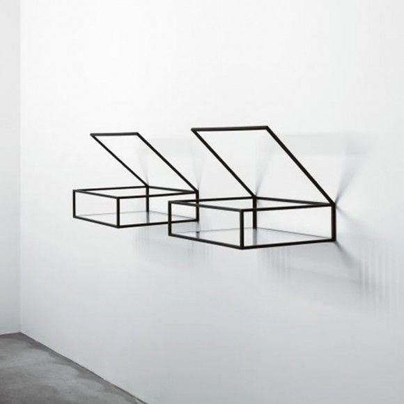 Minimalist Glass Shelf Storage Designs from Ron Gilad