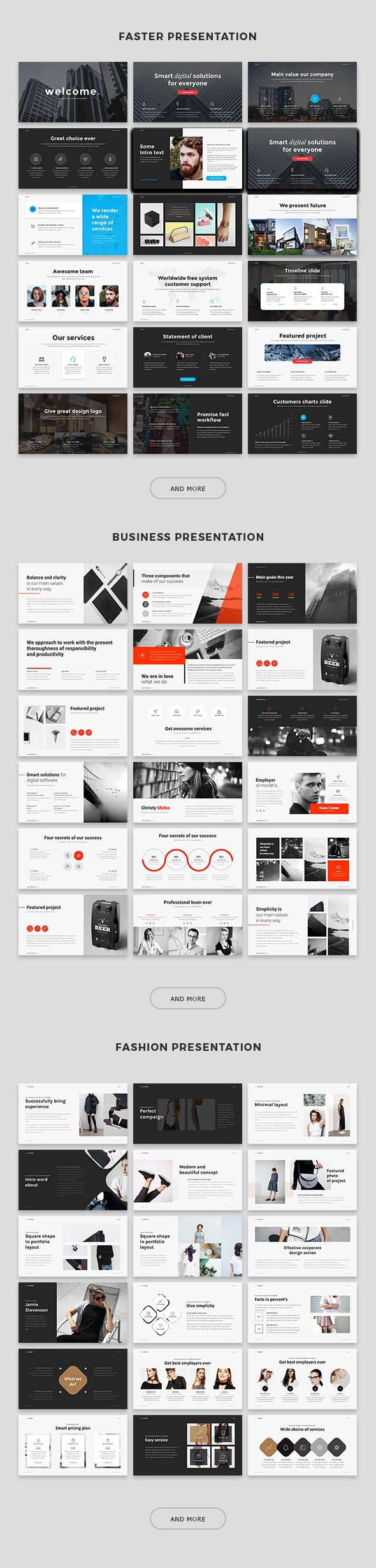 Faster Presentation: Professional, modern and clean presentation template. Features: PowerPoint Template Unique 80 Slides Image Placeholder Format 1920×1080 (full hd) Animation and Transition...