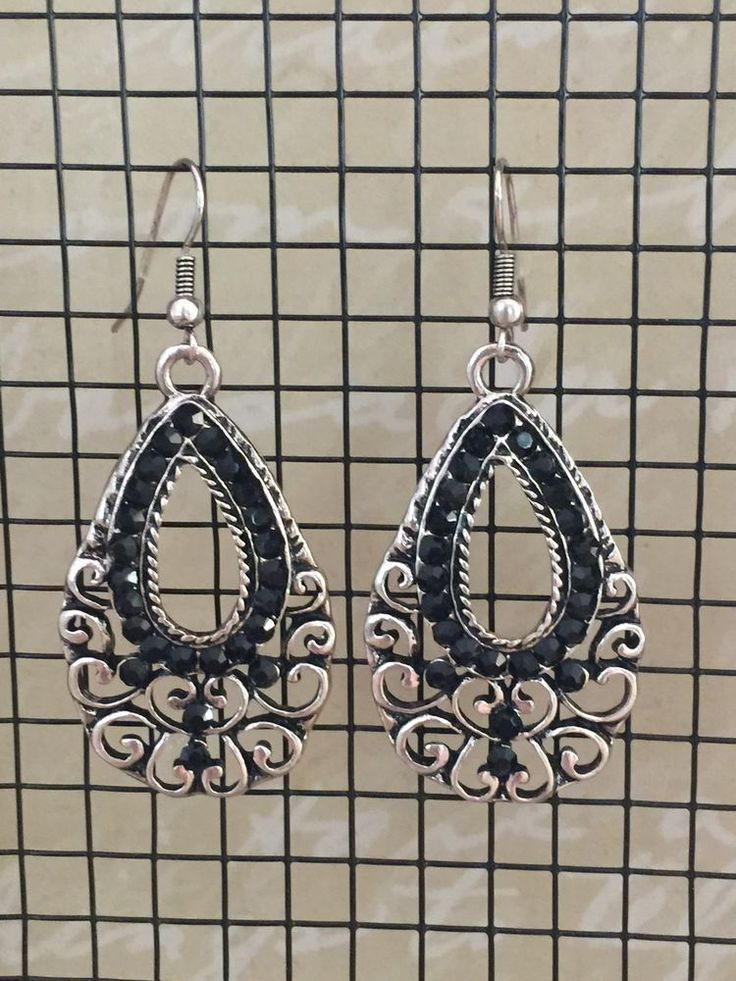 Ladies Ear Rings NEW Boho Black Silver Boho Gypsy Festival Dangle Casual Style  | eBay