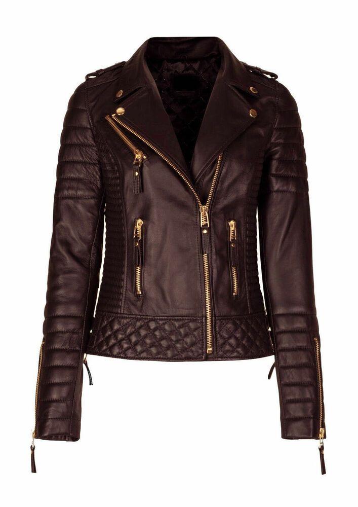 86b8fb192d2 Women's Leather Jacket Genuine Lambskin Brown Slim-fit Biker Motorcycle  Jacket #Handmade #Bomber #Casual