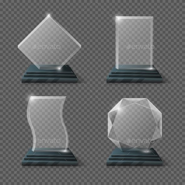 Empty Glass Trophy Awards Vector Set