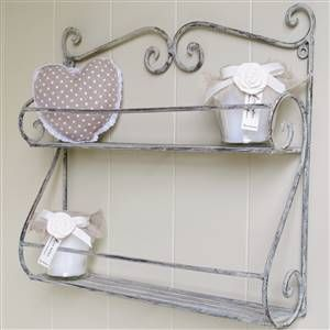 Grey Scrolled Double Wall Shelf | Bliss and Bloom Ltd