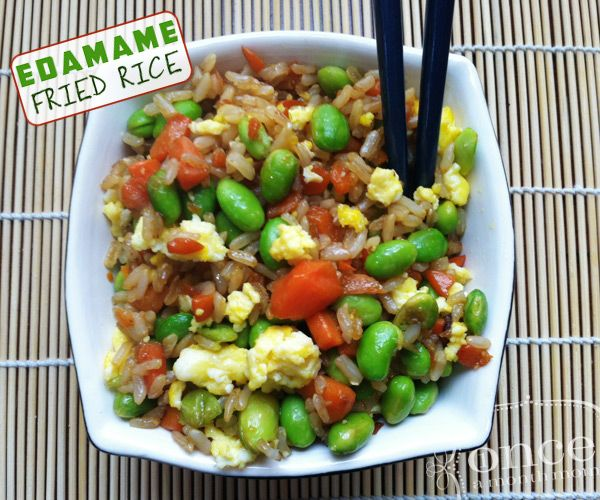 Edamame Fried Rice | OAMC from Once A Month Mom #freezermeals #freezercooking #vegetarian #lent